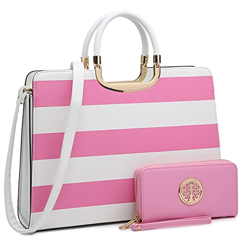 Womens Handbag Top Handle Shoulder Bag Tote Satchel Purse Work Bag with Matching Wallet (4-Pink/White)