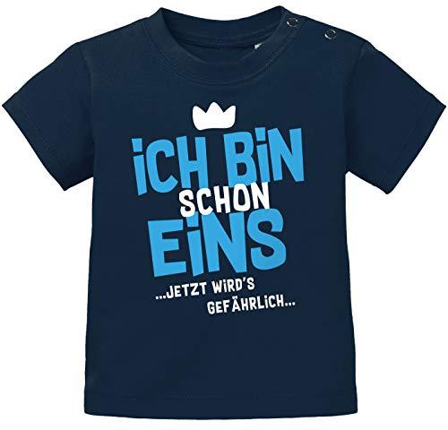 MoonWorks® Baby T-Shirt 1. Geburtstag Spruch Ich Bin Schon 1 jetzt wird's gefährlich Geburtstagsshirt Bio-Baumwolle Navy-blau 80/86 (10-15 Monate)