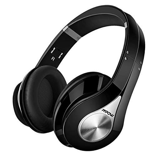 Mpow 059 Auriculares Diadema Bluetooth, 25hrs de Reproducir, Sonido Estéreo, CVC 6.0, Auriculares Diadema Inalámbricos con Micrófono, Cascos Bluetooth Diadema Plegable para TV, PC, Móvil, Negro
