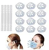 12 pezzi 4 supporti in plastica per paradenti più spazio per il massimo comfort, respiro interno paralabbro (SIlikon trasparente)