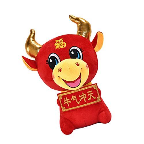 Peluche de buey, juguete 2021 Año Nuevo chino zodiac, regalo rojo