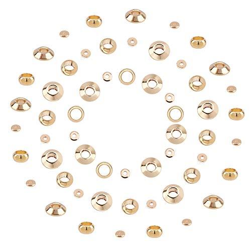 SUNNYCLUE, 60 Uds, 3 tamaños, 18 K, Cuentas Espaciadoras Chapadas En Oro, Cuentas de Metal, Abalorios de Bolas Lisas para Pulsera, Collar, Fabricación de Joyas