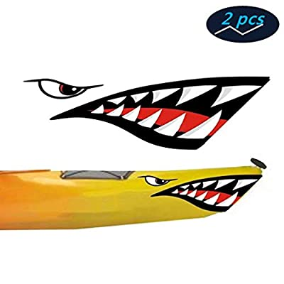 Ikerall Shark Teeth Mouth Reflective Decals Sticker Fishing Boat Canoe Car Truck Kayak Graphics Accessories