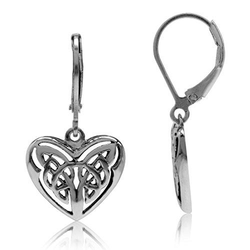 Silvershake 925 Sterling Silver Celtic Knot in Heart Leverback Dangle Earrings