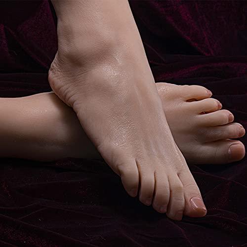 VICTORDOMO Maniquí Femenino de Silicona Exhibición de pie Joyas Sandalia Zapato Exhibición de Calcetines Arte Boceto Fetiches para Hombres Entrenamiento de uñas Práctica de pie Más Realista Adecuado