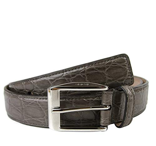 Gucci 336831 - Cinturón de piel de cocodrilo clásico cuadrado