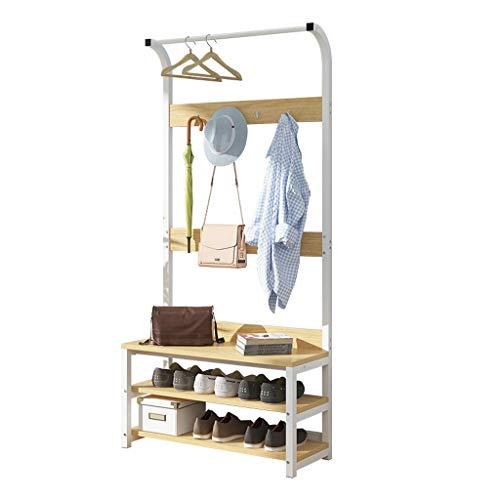 DFLY Garderobenständer Holz mit sitzbank schuhregalk, moderner stabil wardrob Kleiderstange, multifunktionales Design Industrial möbel Organizer für Eingang, büro, Schlafzimmer, Wohnzimmer,60cm