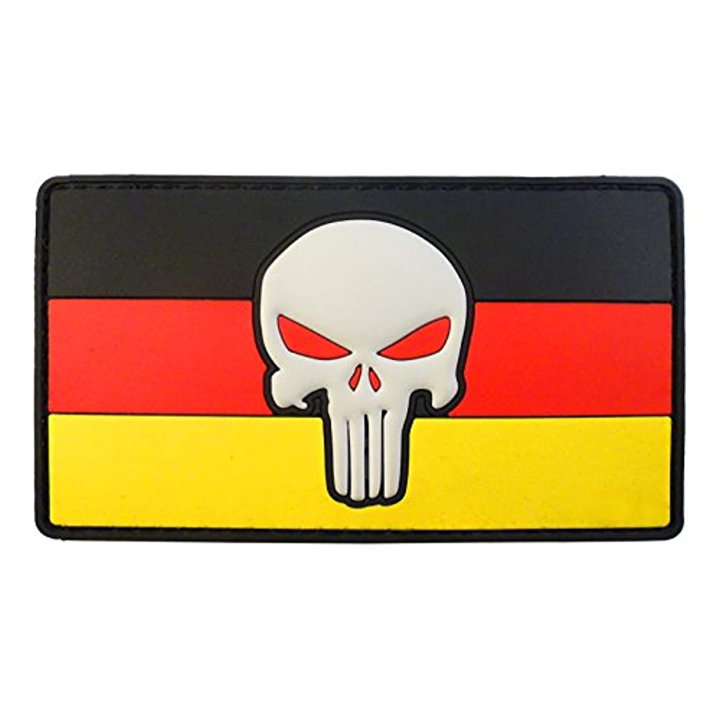 LEGEEON Punisher Skull Deutschland Germany Flag Morale Tactical Combat PVC Rubber Fastener Patch cohxvgdtma