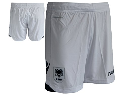 Macron Albanien Away Fußball Short Auswärts Fan Short FSHF Fussball Spielerhose Sporthose Turnhose weiß, Größe:XXL