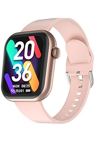 CUBOT Reloj inteligente C5 de 1,7 pulgadas, pantalla táctil de fitness, reloj de pulsera con pulsómetro, resistente al agua hasta 5 ATM, podómetro, compatible con iOS y Android, Dorado