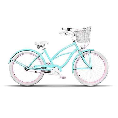 Damen Fahrrad 26 Zoll Komfort DamenFahrrad Beachcruiser Retro Look Vintage Cruiser Bike Frau Rad Aluminium Rahmen