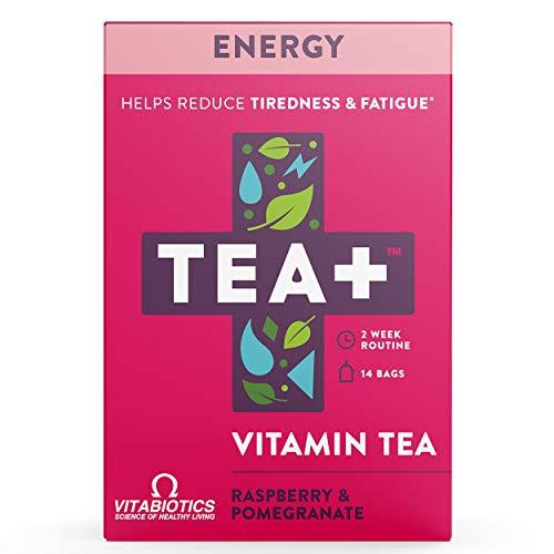 TEA+ (Tea Plus) Energy - Té vitamínico - Bolsitas de té verde con hierbas y suplemento B6 y B12 - Sabor a frambuesa y granada - 2 Paquetes de 14 unidades