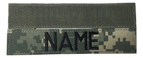 Custom Military Name Tape, with Fastener or Sew-On, US ARMY USAF USMC POLICE CivilAirPatrol Tape (With Fastener, ACU)