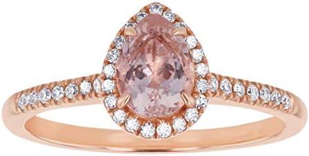 Olivia Paris 14K Rose Gold Pear Morganite Diamond Halo Vintage Engagement Ring 0 15 Cttw H I product image