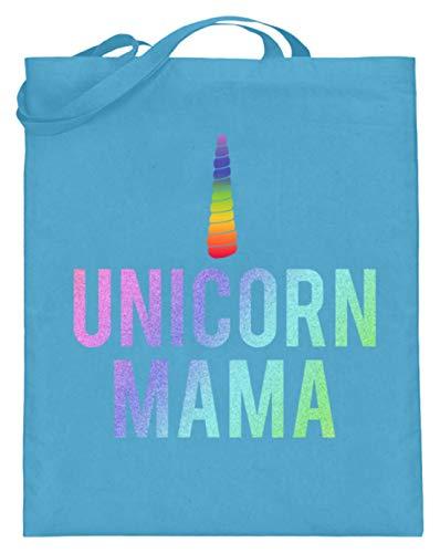Unicorn Mama. - Madre, madre, unicornio, cuerno de caballo, ponis, mujeres, niñas, damas – Bolsa de yute (con asas largas), color Azul, talla 38cm-42cm