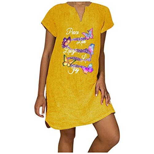 YWLINK Vestido De Lino De Las Mujeres con Vestido De Playa Color SóLido Vestido De Una LíNea hasta La Rodilla Suelto Ocasionales De La Camiseta,Vestido De AlgodóN Y Lino Estampado De Manga Corta