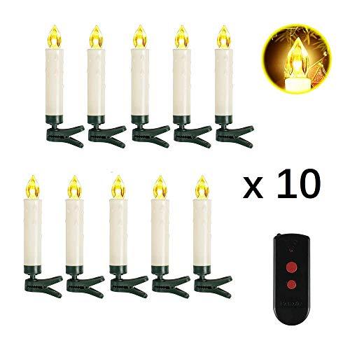 SunJas 10er Weihnachten Kerzen LED Weihnachtskerzen Kabellos Baumkerze-Set mit Fernbedienung, Warmweiße Christbaumkerzen für Weihnachtsbaum, Weihnachtsdeko, Hochzeit, Geburtstags usw.