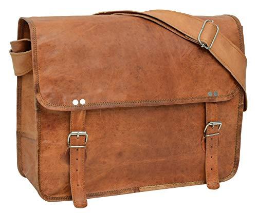 """Preisvergleich Produktbild Gusti Umhängetasche Leder - John 17"""" Laptoptasche 17"""" Vintage Retro Braun Leder"""