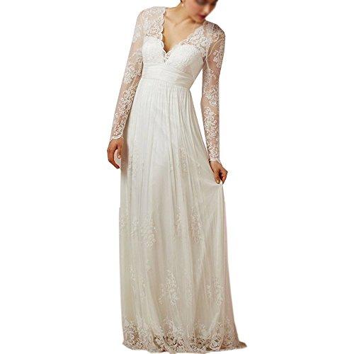 Nanger Damen Spitze Hochzeitskleider Lange Ärmel Standesamt Boho Bohemian Brautkleider Wedding Dress Weiß 48
