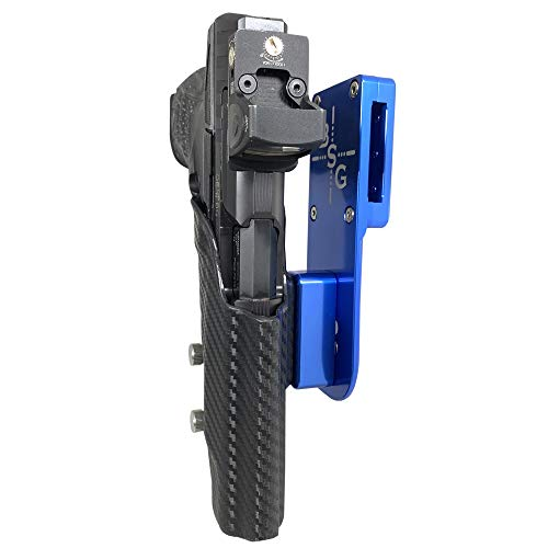 Black Scorpion Outdoor Gear Pro Heavy Duty Competition Holster OWB Kydex fits Walther PPQ Q5 Match - Polymer Frame, PPQ M2 5'', 3Gun, IPSC, USPSA Approved (Blue/Carbon Fiber)