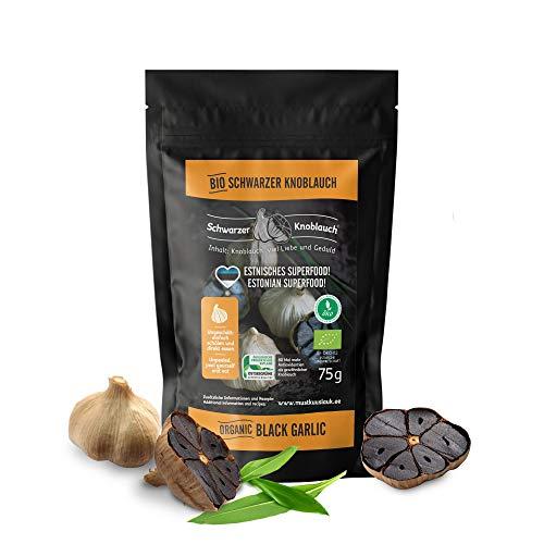 Bio ungeschälter schwarzer Knoblauch - vegan, fermentiert, hochdosiert, zertifiziert natürlich - fermented eco-friendly black garlic - hergestellt in Skandinavien