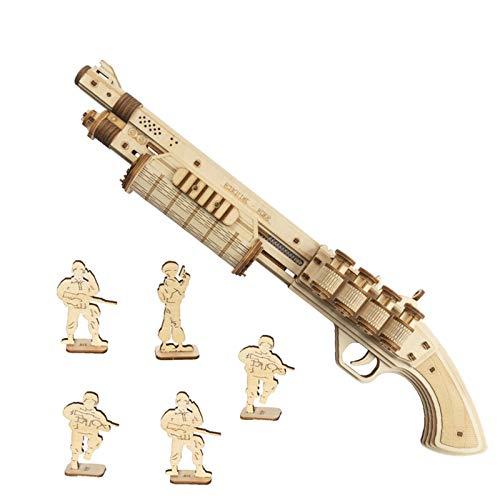 ROKR Gummiband Pistole Holzmodell Bausatz | 3D Puzzle Holzbausatz Mechanische Modell für Kinder, Jugendliche und Erwachsene (Terminator M870)