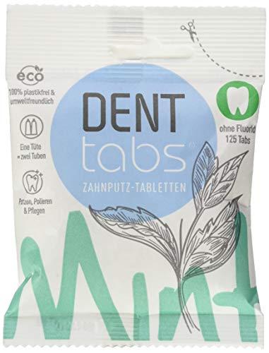 DENTTABS Stevia - Mint Zahnputztabletten fluoridfrei, 1er Pack (1 x 125 Stück)