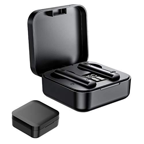 AchidistviQ True Wireless Earbuds Auriculares inalámbricos TWS Mini magnético Bluetooth 5.0 Micrófono incorporado con funda de carga rápida para el trabajo/deportes negro