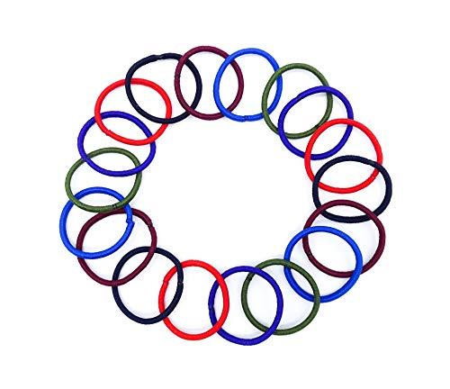 Irresistible1 Lot de 20 élastiques à cheveux sans accroc Extra petits en rouge vif, rouge foncé, bleu marine, bleu royal, vert et violet