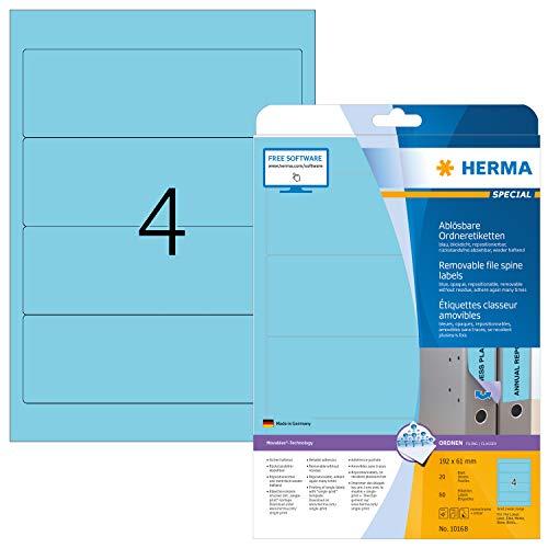 HERMA 10168 Ordnerrücken Etiketten DIN A4 ablösbar, kurz/breit (192 x 61 mm, 20 Blatt, Papier, matt) selbstklebend, bedruckbar, abziehbar, wieder haftende Ordneretiketten, 80 Rückenschilder, blau