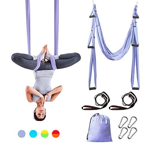 Sotech Aerial Yoga Amaca, Yoga Amaca Altalena Amaca per Pilates Ginnastica con Borsa da Trasporto e Cinghie di Prolunga (Viola Chiaro)