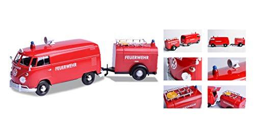 Volkswagen Type 2 (T1) Fire Van with Fire Fighting Trailer Feuerwehr Red 1/24 Diecast Model Car by - Motormax 79671
