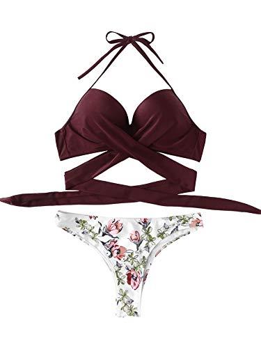 DIDK Mujeres Bikini, 2018 Traje De Baño De Dos Piezas Bikini Conjunto con Estampado, Verano Bra Acolchado, 2018 Verano Sexy Push Up Ropa De Playa,Rosa