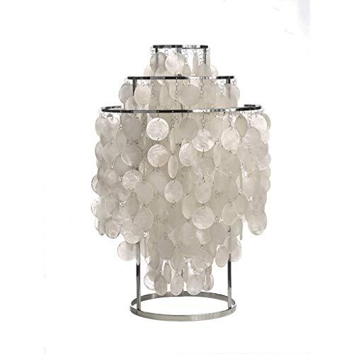 DIAOD Moderne Tischlampe for Wohnzimmer-Familien-Schlafzimmer-Nachttisch, rundes Muschel-natürliches Weiß