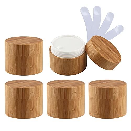 TIANZD 5 Pieza 100ml Envases Cosmética Bambú 100g Tarro deCosmética de Bambú con PP Plástico Interior Pote de Crema de Bambú para Cremas Hidratantes Loción Ungüento