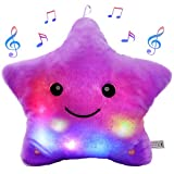 Bstaofy LED Musical Twinkle Star Glow Lullaby Nightlight Stuffed Toys Animated Afraid of Dark Singing Christmas for Toddlers, Purple