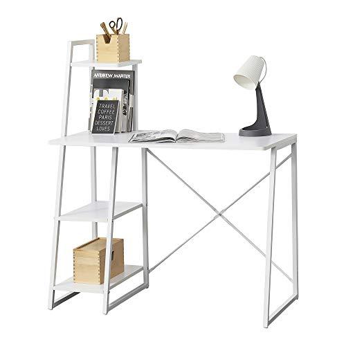 [en.casa] Schreibtisch Aalborg mit Regal Bürotisch 117 x 102 x 50 cm Computertisch mit Metallgestell Arbeitstisch mit Ablagefläche PC Tisch Höhenverstellbar Weiß