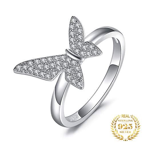 IWINO asymmetrie geometrische vlinder Cubic Zirconia belofte Ring 925 Sterling zilveren ringen voor vrouwen geschenken fijne sieraden