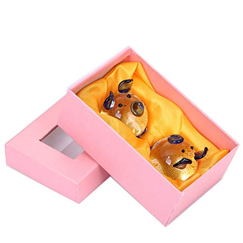 Jaswass Crystal Pig Figurine Mini Animal Collectible Statue Perfet for Decoration with Gift Box Set of 2
