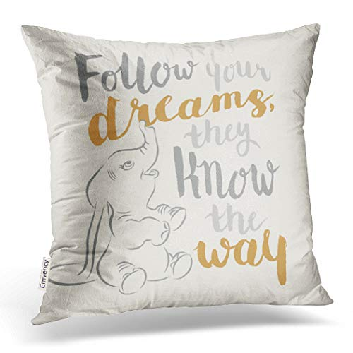 Emvency Decorative Throw Pillow Cover Square Size 16x16 Inches Follow Your Dreams Pillowcase with Hidden Zipper Decor Pillow Case Cushion Gift for Holiday Sofa Bed