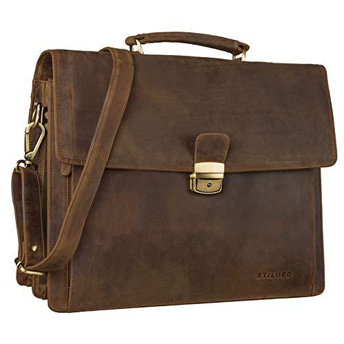 STILORD 'Noel' Aktentasche Leder Herren Vintage groß Klassische Arbeitstasche Bürotasche Umhängetasche Dokumententasche mit Laptopfach 13,3 Zoll und Trolleyschlaufe, Farbe:mittel - braun