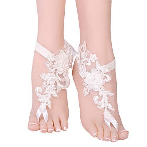 ZOYLINK Barefoot Sandals Charm Flower Lace Foot Kettenfußschmuck für Hochzeit