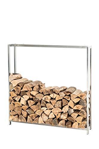 CLP Estantería para Leña Forest I Leñero/Estantería para Leña de Acero Inoxidable I Leñero Moderno con Protectores de Suelo Incluidos I Acero Inoxidable, 150x145 cm
