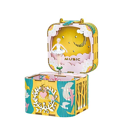BGFBHTY Caja de música Robotime DIY Bailando Ballerma Caja de Dinero de música giratoria de música Hecho a Mano Decoración para el hogar Joyería Regalos para niños Girl Friend