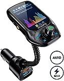 """【Nouveau】 VicTsing Transmetteur FM Kit Bluetooth Voiture Adaptateur Voiture, Automodulation de FM Fréquence, 3 USB Inclus QC3.0 Charge Rapide, 1.8"""" Ecran Couleur Mains Libre, MP3 Mode Aléatoire"""