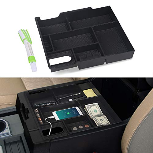 VANJING Center Console Organizer Compatible for 2014 2015 2016 2017 2018 2019 2020 Toyota Tundra Accessories ABS Black Materials Tray Armrest Secondary Storage Box with A Cleaner Brush