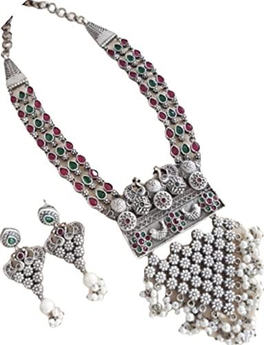 Juego de collar de perlas de pavo turquesa con pendientes a juego, multicolor
