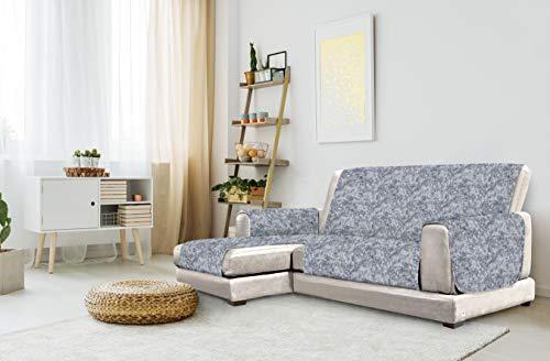 "Italian Bed Linen ""Glamour"" Funda para sofà Anti-Deslizamiento con Chaise-Longue, Izquierda, Azul Oscuro, 240cm"