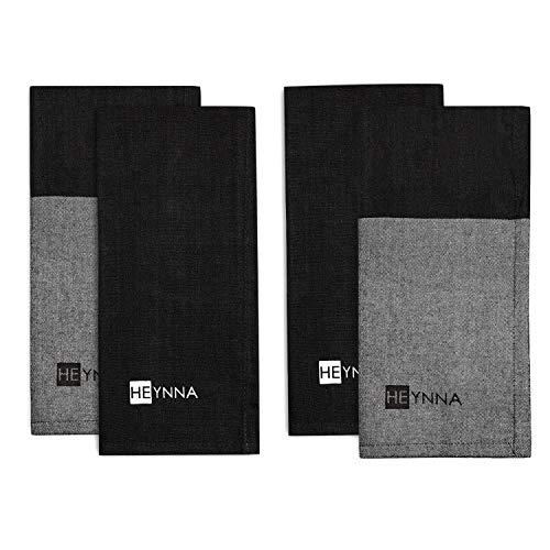 HEYNNA® Juego de 4 paños de cocina en 2 diseños diferentes – Juego de paños de cocina absorbentes en gris/negro para cocina y hogar