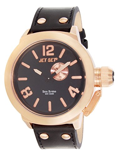 JET SET Herren Analog Quarz (Japanisch) Uhr mit Leder Armband J1142R-267_Black